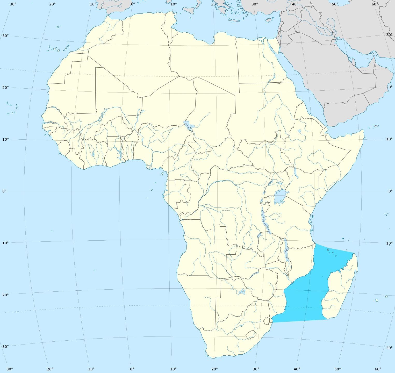Mosambik Kanal Mapa Mosambik Kanalu Afrika Mapa Vychodni Afrika