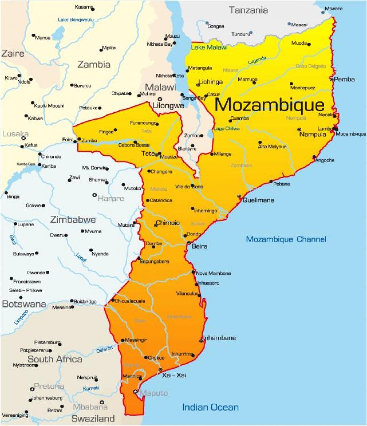 Mosambik Mapa Mapa Mosambiku Vychodni Afrika Afrika